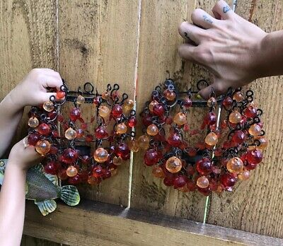 Vintage Victorian Cast Iron Candle Holder Wall Sconces W/ Orange & Red Beads