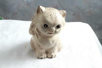"""Vintage Hubley Cast Iron Kitty Cat Bank with Bow 5"""""""