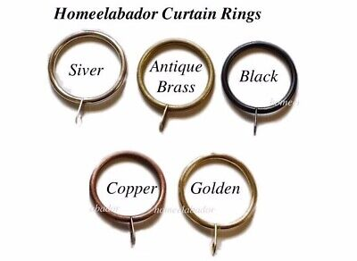 12x40mm Strong Metal Curtain Rings with eyelets Silver, Antique Brass,Black Hook