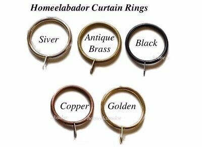40mm Strong Metal Curtain Rings with eyelets Silver, Antique Brass,Black, Copper