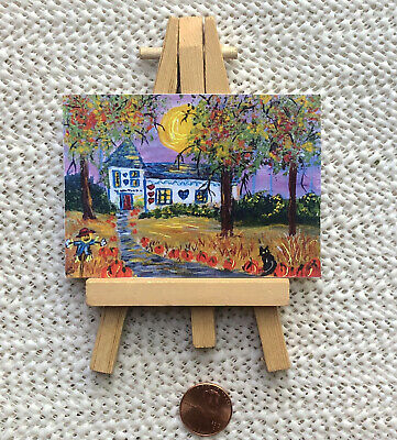Aceo Tiny miniature artwork halloween fall mini painting, folk art artist signed