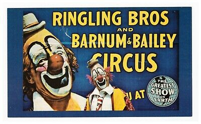 Ringling Bros Circus Master of Mirth Postcard c1973 Lou Jacobs Clown Unposted