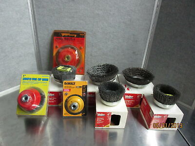Lot of Crimped Wire Cup Brushes Weiler Dewalt and Others