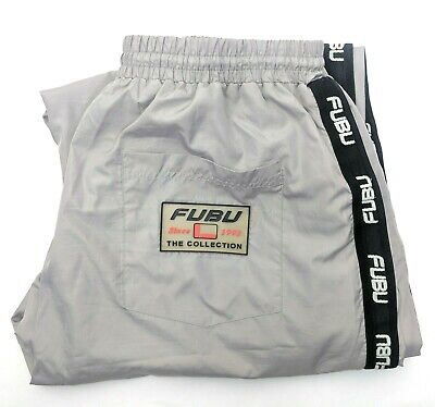 Fubu The Collection Mens Large Grey Track Pants Trackies Joggers L 90s Vintage