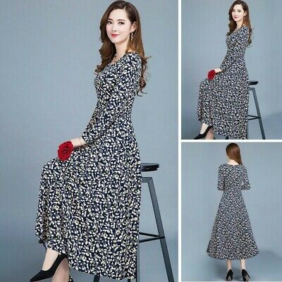 Womens Casual Plus Size Floral Print Sundress A Line V-neck Summer Party Dress