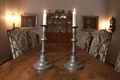 Matching Pair of French Antique Pewter Candlesticks