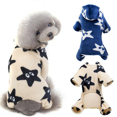 Star Printed Dog Clothes Four-Legged Dog Jumpsuit Soft Fleece Puppy Hoodie Coats