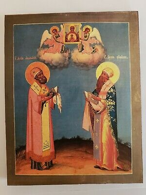 Saints Cyril and Athanasius, Orthodox Icon, Size 7, 12/16 x 10 inches 20x25.5 cm