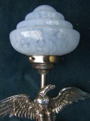 ART DECO ORIGINAL 1930's CHROME EAGLE TABLE LAMP W BLUE GLASS SHADE VINTAGE