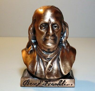 Benjamin Franklin COIN BANK - copper tone metal