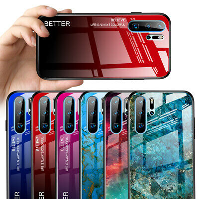 For Huawei P30 Pro P20 Lite P Smart 2019 Gradient Tempered Glass Hard Case Cover