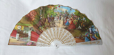 Vintage 1980s hand held fan - white sticks fabric printed spanish scenes