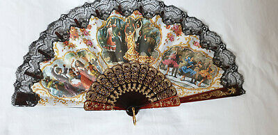 Vintage 1980s hand held fan - dark brown sticks fabric printed spanish scenes