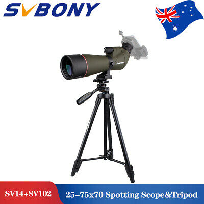 "SV14 25-75x70mm 45° Angled Zoom Spotting Scope Porro FMC BAK4+49""Tripod AU local"