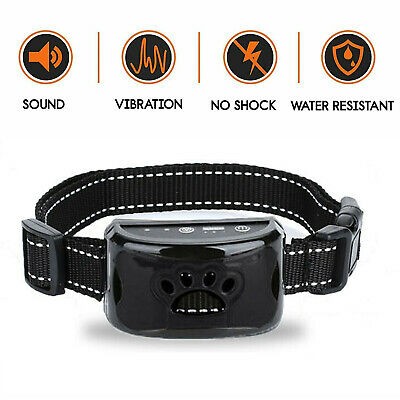 Adjustable Anti-Bark Collar Rechargeable Sound & Vibration +Free Shell For Dogs