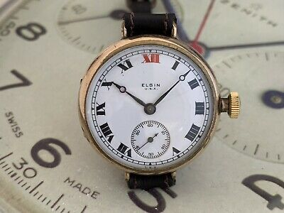 Vintage 1915 Elgin Gold Plated WW1 Trench Watch Stunning Dial Hands And Movemet