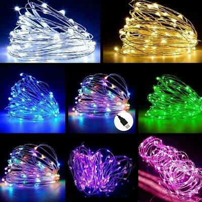 5/10/20M LED USB Micro Rice Copper Wire Fairy String Lights Xmas Party Decor