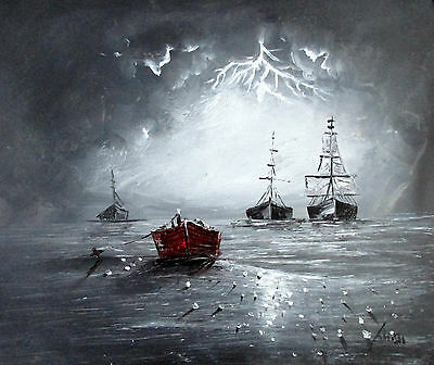 100%Hand-painted Art Oil Painting Seascape Ship 16*20inch Signed Canvas