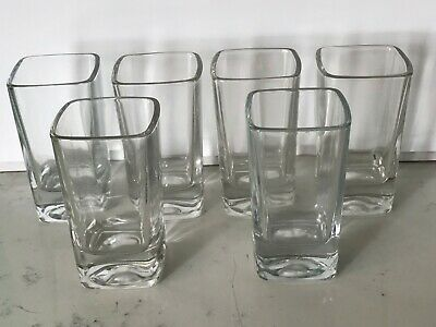 Lot of 6 Classic Square Clear Glass Shot Glasses Thick Bottom Tequila Vodka etc.
