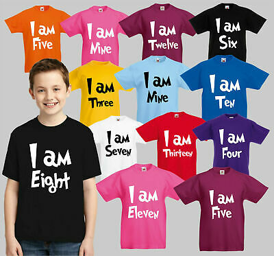 Childrens Birthday I Am T-Shirt, Boys Girls Party Gift 1-13 CB1 Kids Tee Top