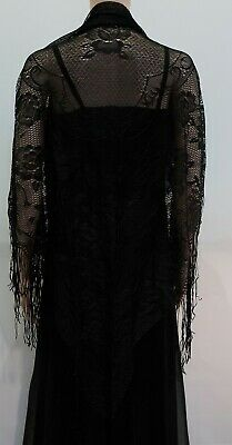 VINTAGE RETRO BLACK 1970s BOHO RAYON SHAWL MADE IN JAPAN NEVER WORN