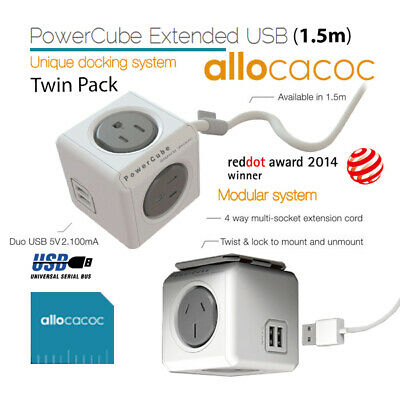 ALLOCACOC POWERCUBE Extended USB Grey 4 Outlets 2 USB 1.5M with CABLE (Twin Pack