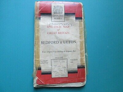 Ordnance Survey One - Inch Map Of Bedford & Luton 1954 Map, Number 147.