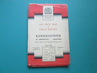 Ordnance Survey One - Inch Map Of Kidderminster 1954 Map, Number 130.