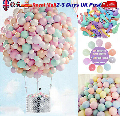 "UK 10"" 100/200 X Macaron Candy Colorful Ballons Pastel Latex Balloons Hen Party"