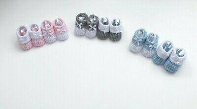 Baby Girls Boys Newborn Knitted Booties Bow Soft Shoes White Grey Pink Blue