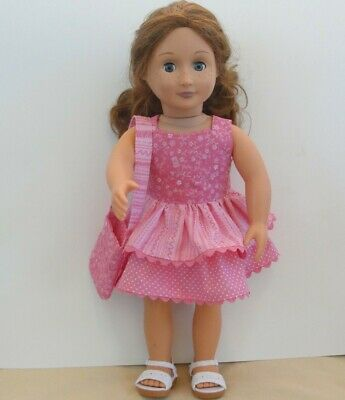 Handmade Dress and Tote Shoulder Bag for American Girl and Other 18 inch Dolls