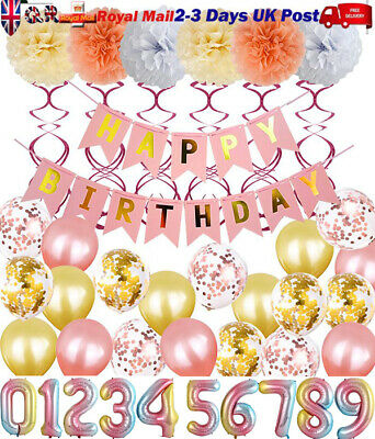 43Pcs Rose Gold Happy Birthday Bunting Banner Foil Balloons Spirals Pompom Party