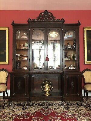 American Rococo Rosewood Breakfront Bookcase