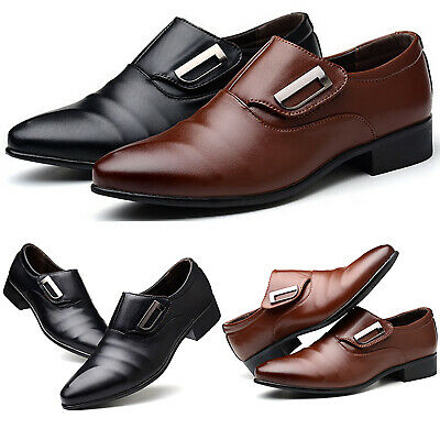 Mens Dress Shoes Slip On Pointed Toe Smart Formal Wedding Party Work Office Shoe