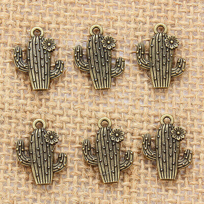 10Pcs Retro Cactus Pendant Zinc Alloy Charm Pendant Jewelry Making DIY Necklace