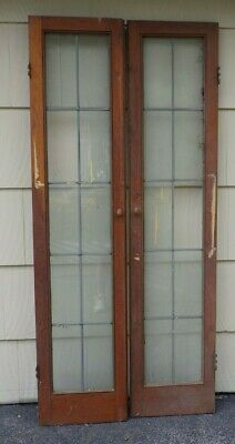 2 Antique Vintage Tall Leaded Glass Pantry Cupboard Cabinet Doors