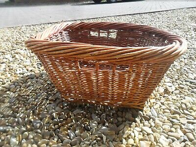 very old used SQUARE WICKER  log /  basket  19INS