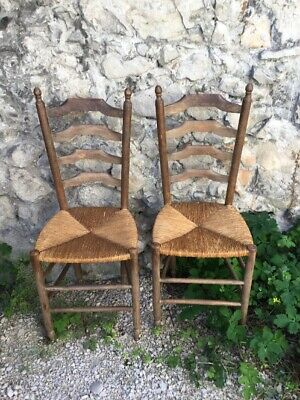 2 Antique Vintage French Country Pair Ladder Back Rush Seat Chairs Kitchen Pair