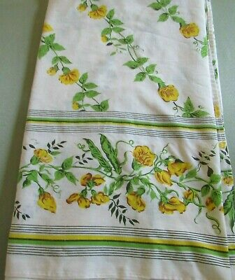 """Vintage Tablecloth Yellow & Green Floral Vines Banquet Cloth 45 x 110"""""""