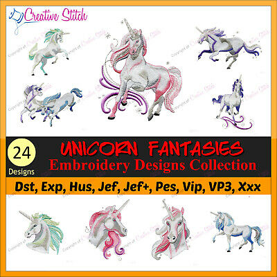 24 Unicorn Fantasies Collection Embroidery Designs Brother Janome PES JEF HUS