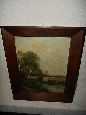 Antique oil painting,{ Landscape with cows enjoying the water, nice frame! }.