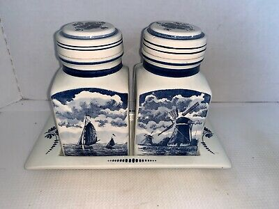Vintage Delft Blauw Hand Painted Spice Jar/Canister Set with Tray Holland
