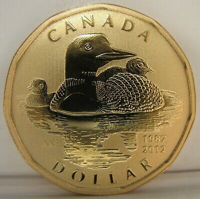 2012 - $1 - 25th Anniv. of Loonie - Loon With Chicks - SPECIMEN - Uncirculated