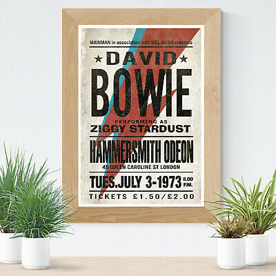 Reproduction David Bowie Ziggy Stardust 1973 Glossy Print A4 Concert Poster