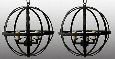 Pair 1920S Style Spanish Revival Wrought Iron Hanging Pendant Lamp Chandelier