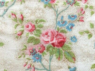 Antique Vintage French Fabric Floral Pink Roses Dolls Small Scale Picotage