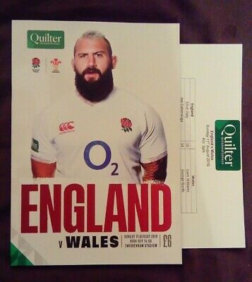 ENGLAND v WALES 11/08/2019 Rugby Union programme Quilter International