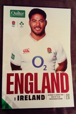 ENGLAND v IRELAND 24/08/2019 Rugby Union programme Quilter International