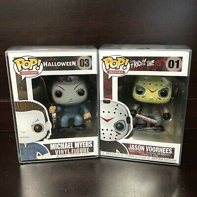 "Funko Pop Horror : Jason Voorhess #01 + Michael Myers #03 Set of 2 Vinyl ""MINT"""