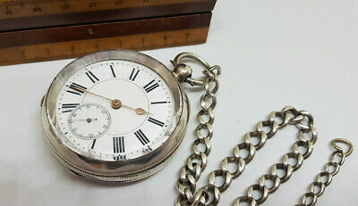 Large Vintage Solid Silver White Dial Lever Pocket Watch With Chain